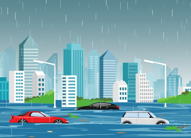 Illustratie van de natuurramp overstromingen in de moderne stad cartoon met wolkenkrabbers en auto's in het water. Premium Vector