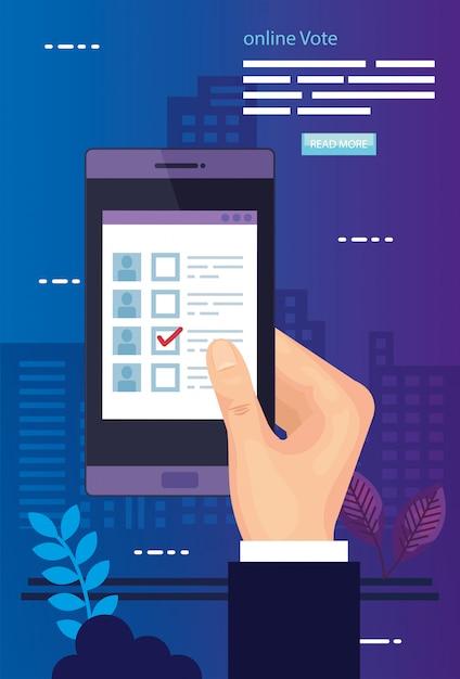 Illustratie van de stem met hand en smartphone Premium Vector