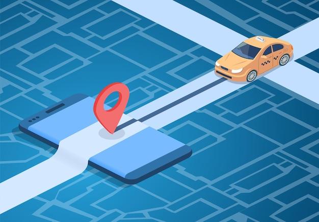 Illustratie van de taxi de online dienst van auto op stadskaart met navigatiespeld op smartphone. Gratis Vector