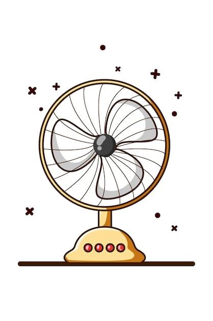 Illustratie van de tekening van de ventilatorhand Premium Vector