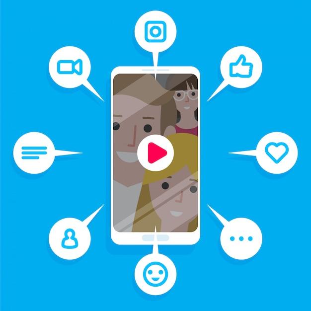 Illustratie van de virale inhoud. vind-ik-leuks, deelacties en opmerkingen verschijnen op het mobiele scherm. videocontent voor millennials. Premium Vector