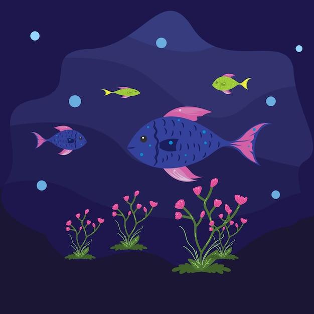 Illustratie van de vissen zwemmen onder de zee met opgewektheid Premium Vector