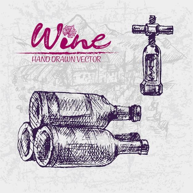 Illustratie van de wijnflessen van de lijnkunst de uitstekende purpere houten Premium Vector