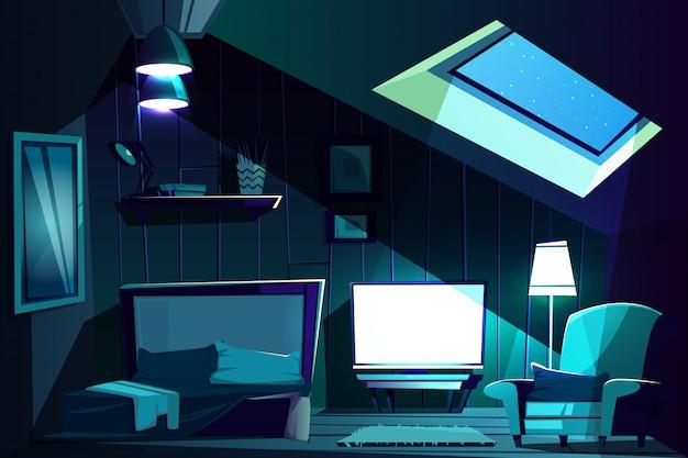 Illustratie van de zolderkamer 's nachts. cartoon zolderkamer met raam, fauteuil met kussen Gratis Vector