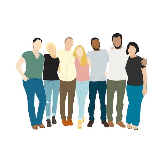 Illustratie van diverse mensen armen om elkaar heen Gratis Vector