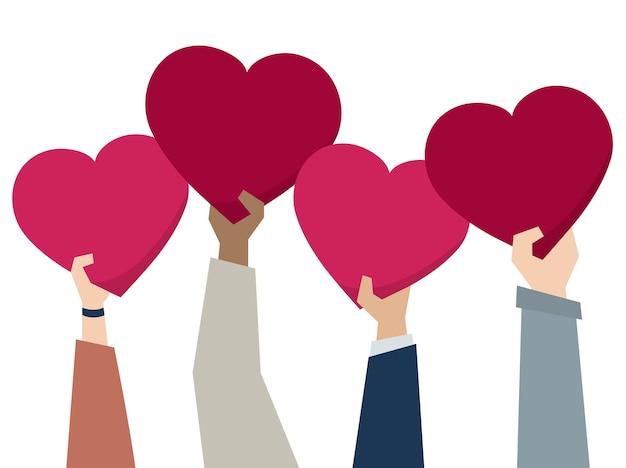 Illustratie van diverse mensen die harten houden Gratis Vector