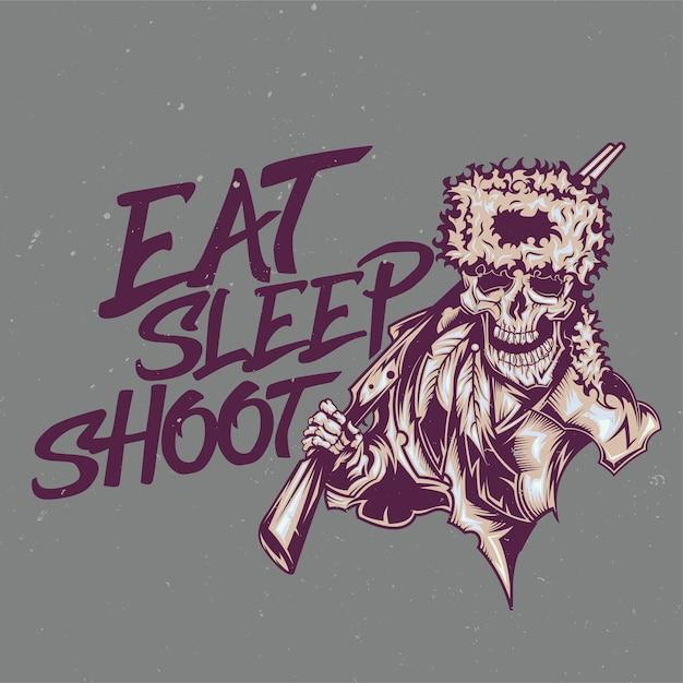 Illustratie van dode jager met letters: eten, slapen, schieten Gratis Vector