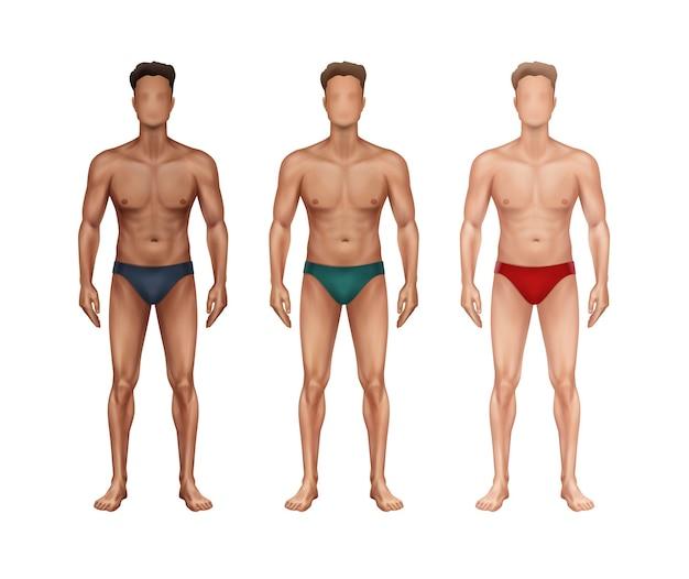 Illustratie van drie staande man in vooraanzicht met verschillende nationaliteiten en huidtypes en in ondergoed op witte achtergrond Premium Vector