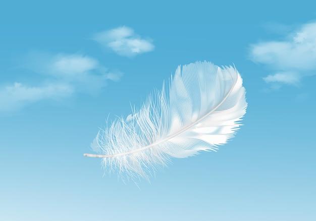 Illustratie van drijvende witte veer op blauwe hemelachtergrond Premium Vector