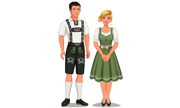 Illustratie van duitse echtpaar in hun traditionele klederdracht Premium Vector