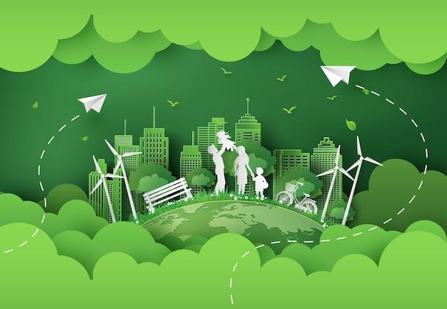 Illustratie van eco en wereldmilieudag met gelukkige familie. papieren kunststijl. Premium Vector