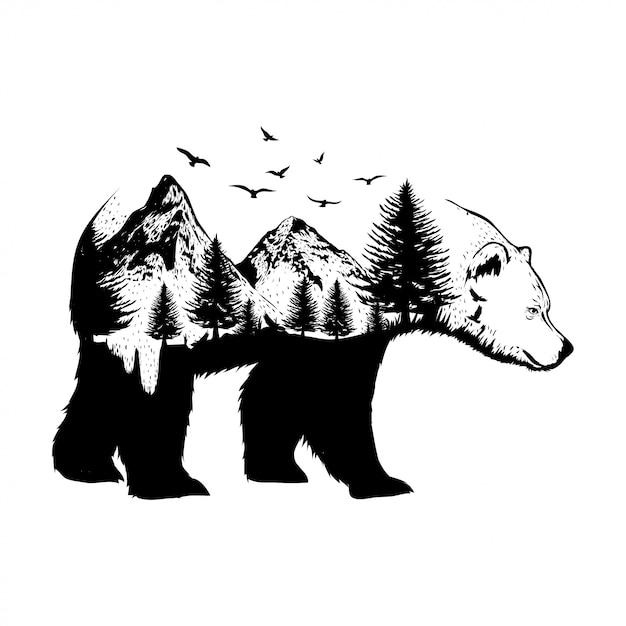 Illustratie van een beer met bos achtergrond Premium Vector
