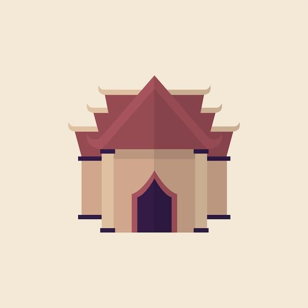 Illustratie van een boeddhistische tempel Gratis Vector