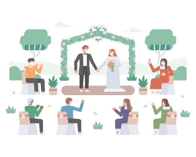 Illustratie van een bruiloftsfeest midden in de coronavirus-pandemie met knappe bruid en mooie bruidegom en gast die een gezichtsmasker dragen en sociale afstand nemen om virusoverdracht te voorkomen Premium Vector