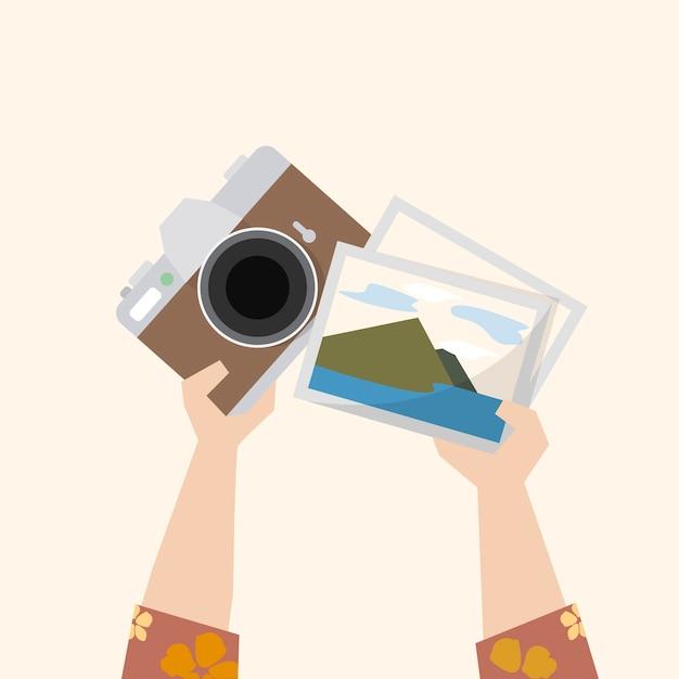 Illustratie van een camera en foto's Gratis Vector