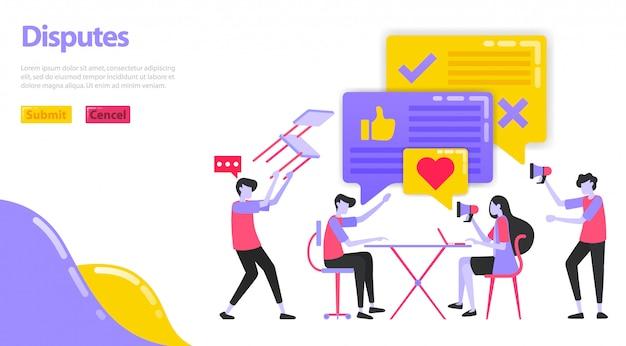 Illustratie van een geschil. mensen discussiëren en betwisten hun mening. Premium Vector