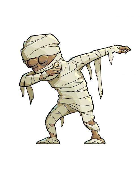 Illustratie van een grappige mummie die de scharbeweging doet. Premium Vector