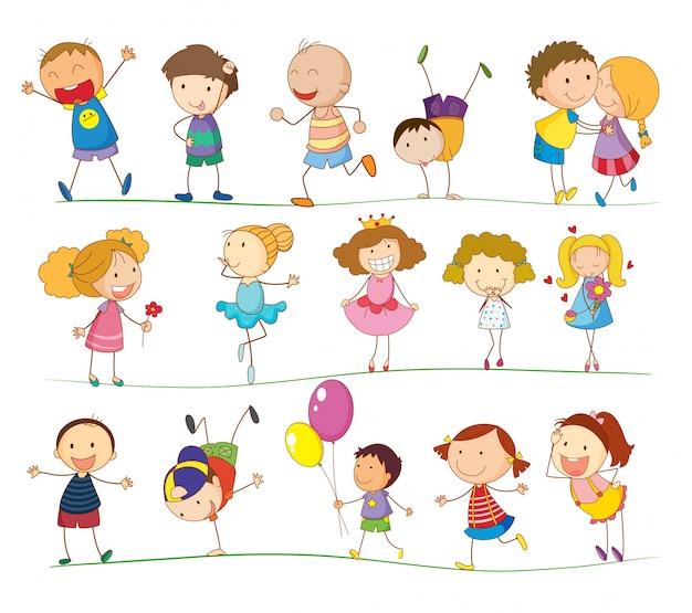 Illustratie van een groep gemengde kinderen Gratis Vector