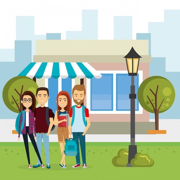 Illustratie van een groep mensen buiten de markt Gratis Vector