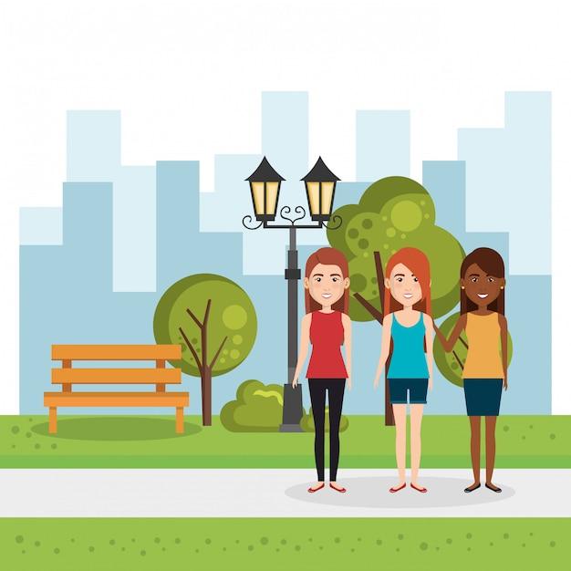 Illustratie van een groep mensen in het park Gratis Vector