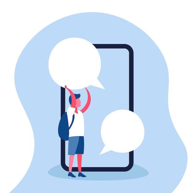 Illustratie van een het praatjebel van de jongensholding Premium Vector