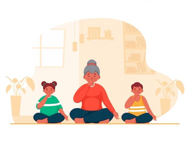 Illustratie van een jong meisje met kinderen doen yoga alternatieve neusgat ademhaling in zittende houding thuis. Premium Vector