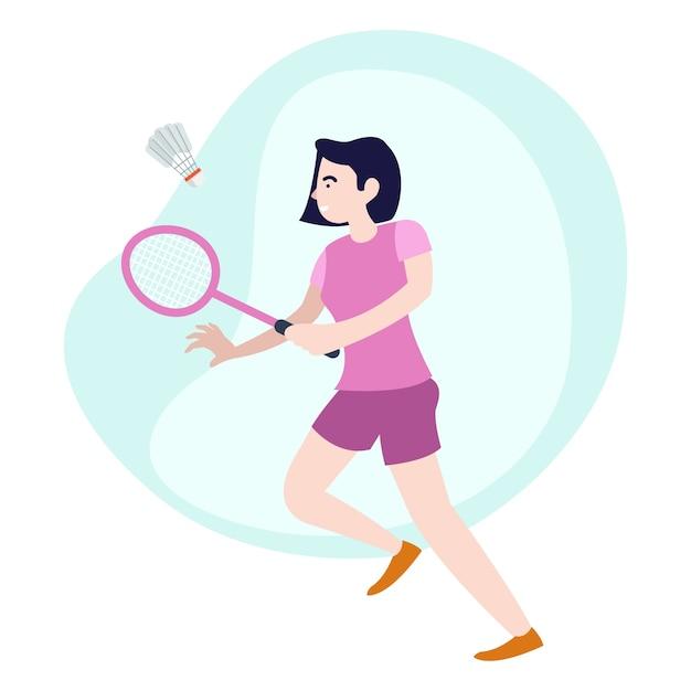 Illustratie van een jonge vrouw die elke middag badminton beoefent Premium Vector