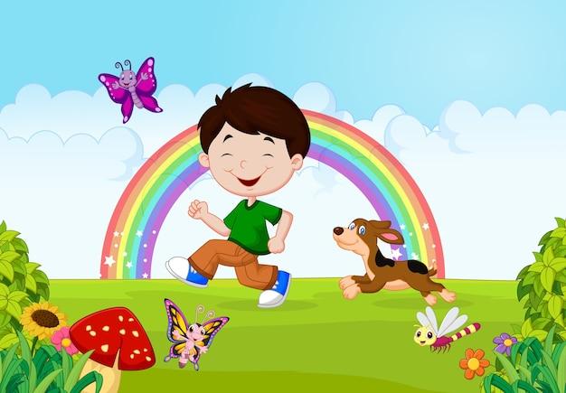 Illustratie van een jongen die met zijn huisdier loopt Premium Vector