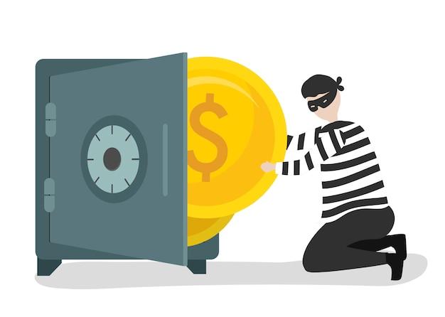 Illustratie van een karakter dat geld steelt Gratis Vector