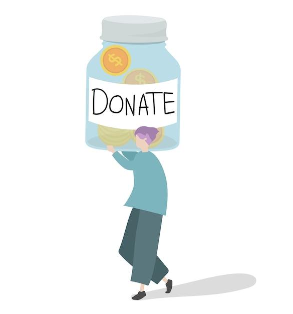 Illustratie van een karakter die geld schenkt Gratis Vector