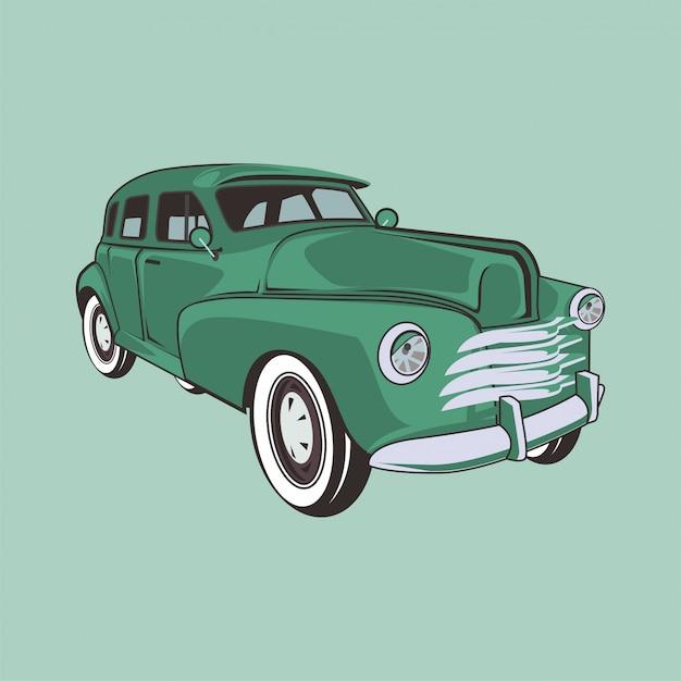 Illustratie van een klassieke auto Premium Vector