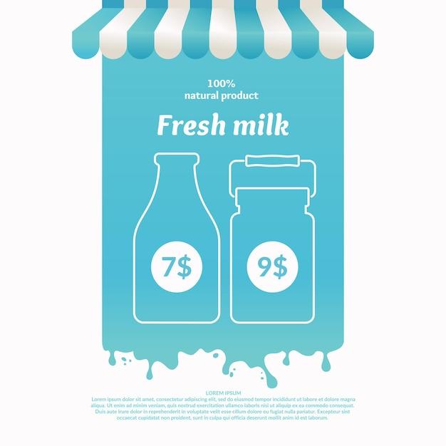 Illustratie van een kraam voor zuivelproducten op straat. achtergrond voor reclame voor melk. affiche voor de winkel of website Premium Vector