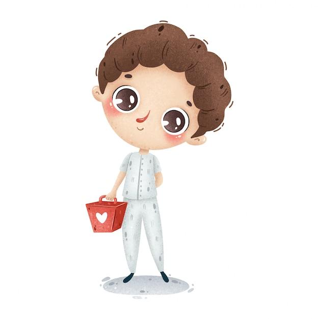 Illustratie van een leuke jongen van de beeldverhaalverpleegster in wit uniform met een medische koffer. ambulance werker. Premium Vector