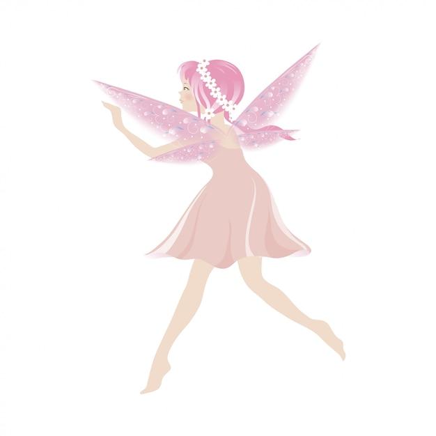 Illustratie van een leuke roze fee die met mooie vleugels vliegt Premium Vector