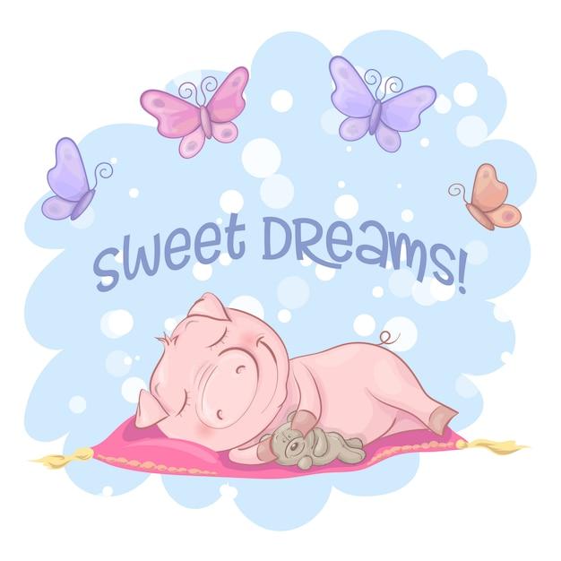 Illustratie van een leuke varkensbloemen en vlinders. cartoon stijl Premium Vector