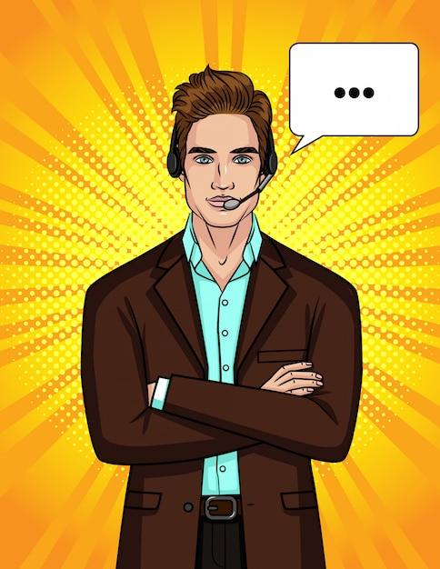 Illustratie van een man in een pak en koptelefoon leidt een online gesprek. Premium Vector