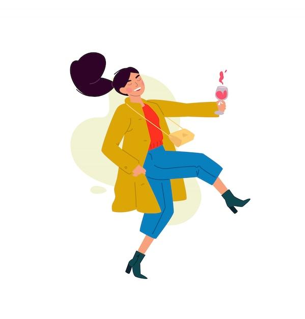 Illustratie van een meisje met een glas wijn. Premium Vector