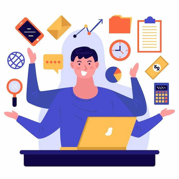 Illustratie van een multitasking persoon Gratis Vector