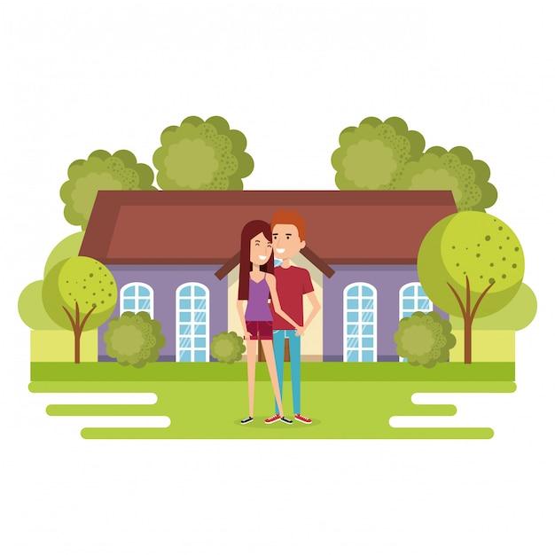 Illustratie van een paar liefhebbers weg van huis Gratis Vector