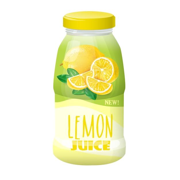 Illustratie van een plastic, glazen fles met een deksel en een afbeelding van een citroen. Gratis Vector