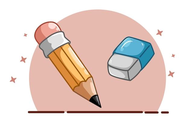 Illustratie van een potlood en een gum Premium Vector