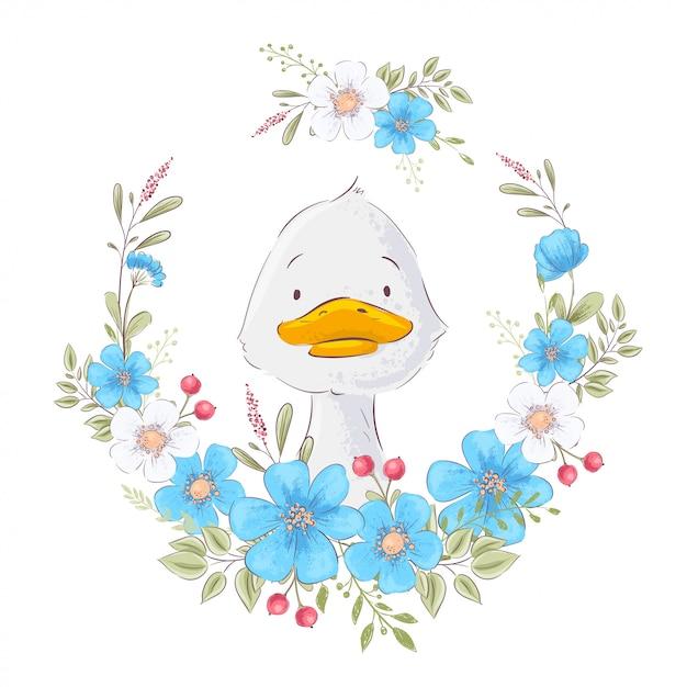 Illustratie van een schattig eendje in een krans van bloemen. handtekening Premium Vector