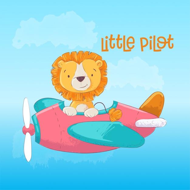 Illustratie van een schattige leeuw op het vlak van een piloot. Premium Vector