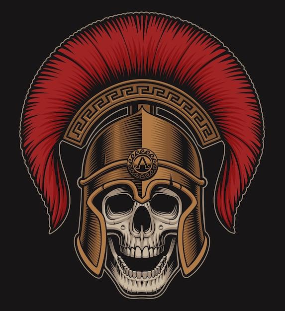 Illustratie van een schedel in een spartaanse helm op een donkere achtergrond. alle extra kleuren in een aparte groep. Premium Vector