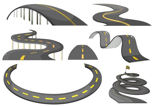 Illustratie van een set wegen Gratis Vector