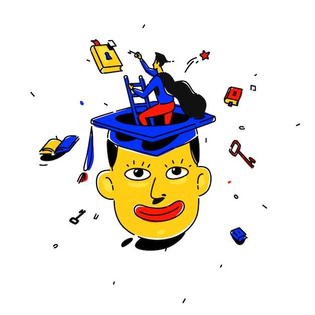 Illustratie van een student in een vierkante dop Premium Vector