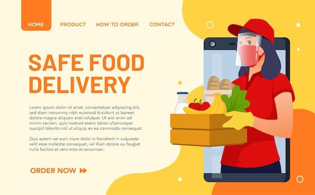 Illustratie van een voedselleverancier die zich aan gezondheidsprotocollen houdt en altijd een masker draagt. landingspagina concept Premium Vector