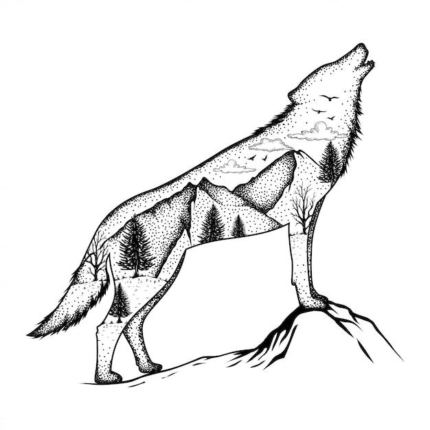 Illustratie van een wolf met bos achtergrond Premium Vector
