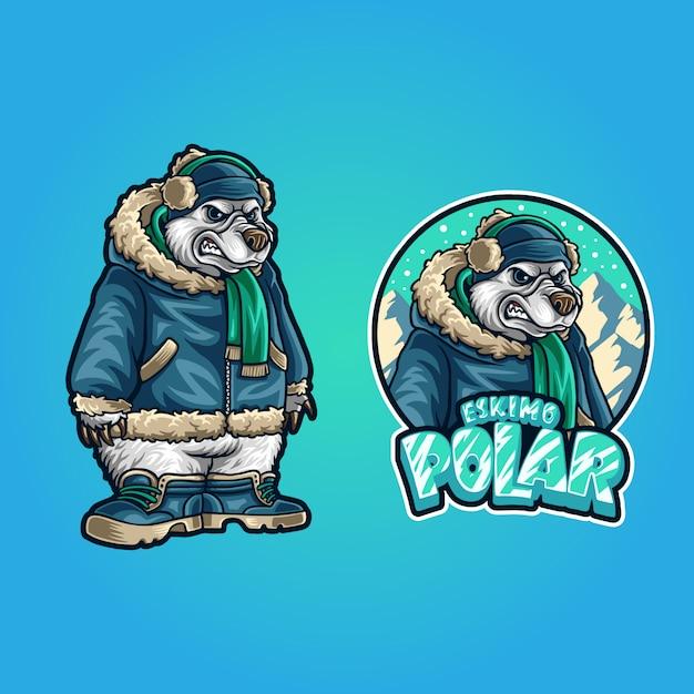 Illustratie van eskimo ijsbeer Premium Vector