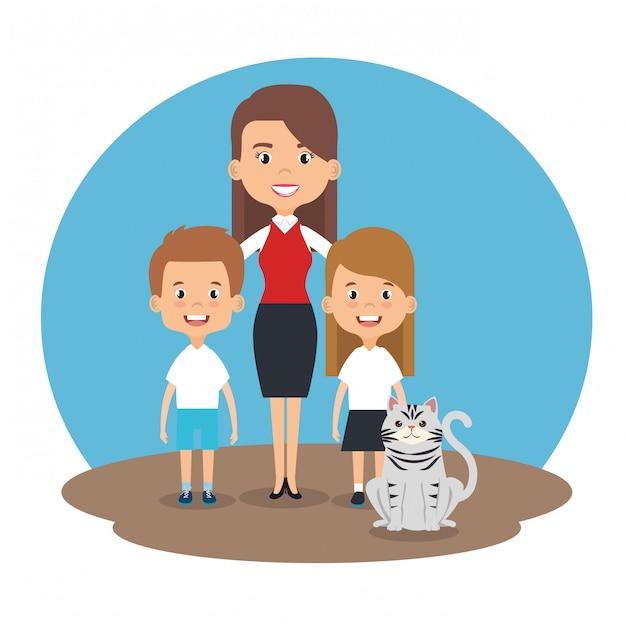 Illustratie van familieleden met huisdieren karakters Gratis Vector